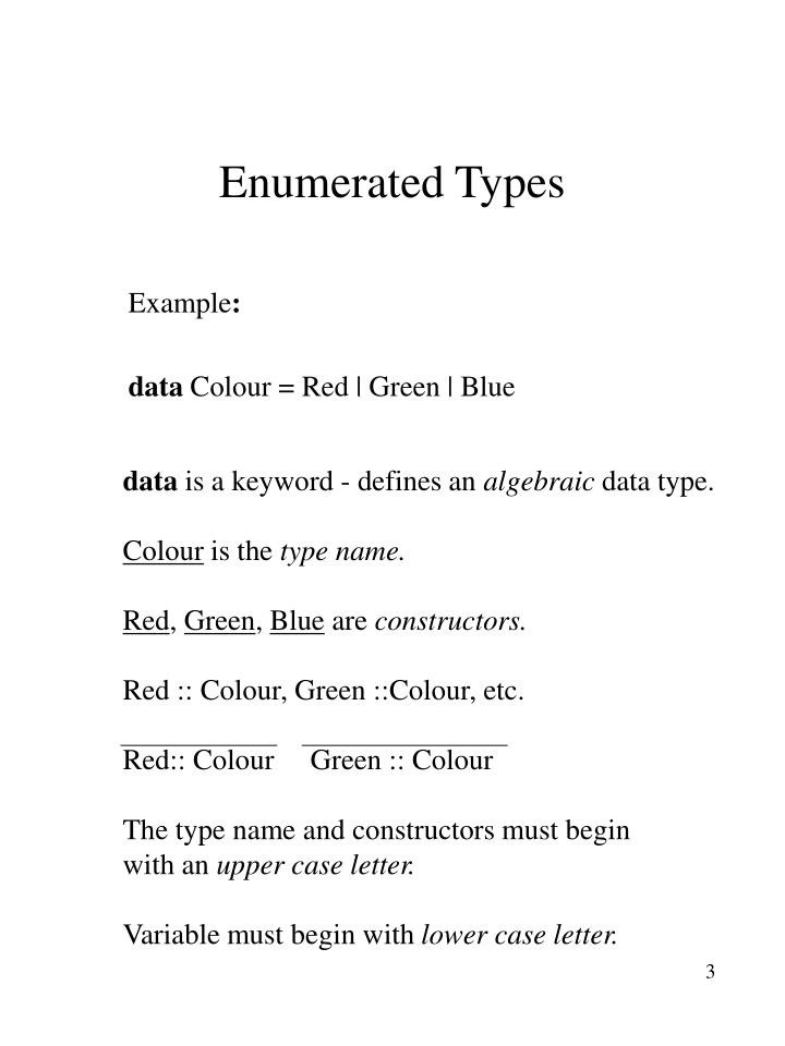 Enumerated Types