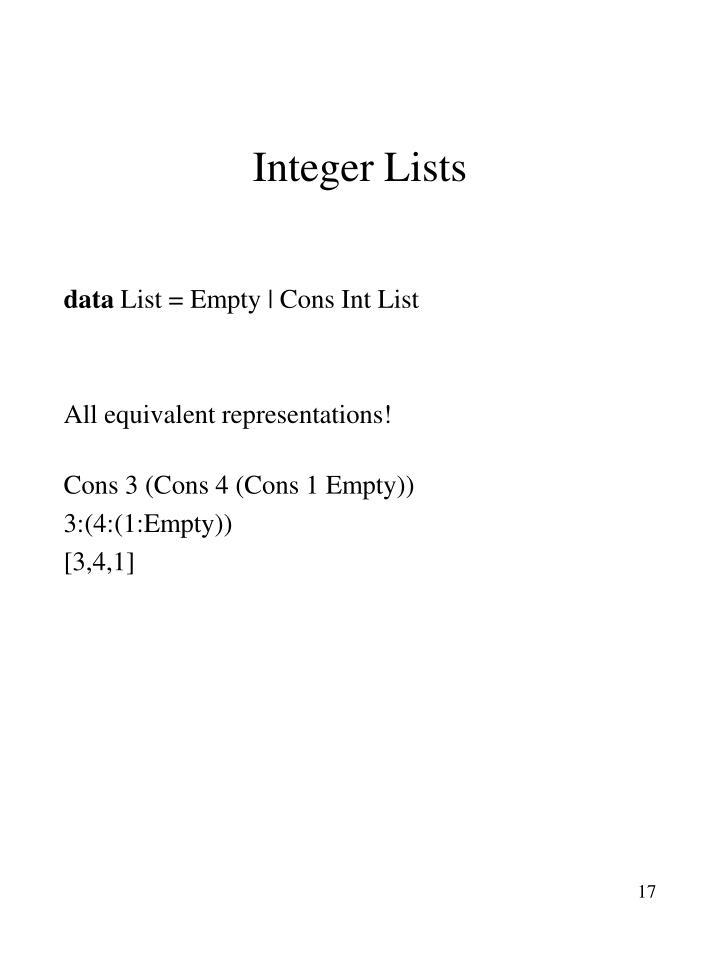 Integer Lists