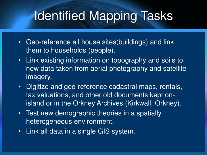 Identified Mapping Tasks