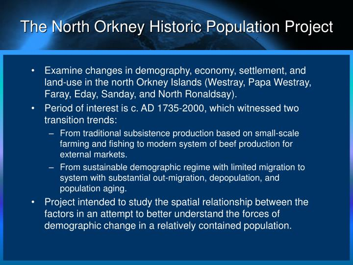 The North Orkney Historic Population Project