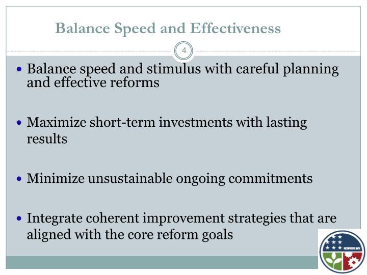 Balance Speed and Effectiveness