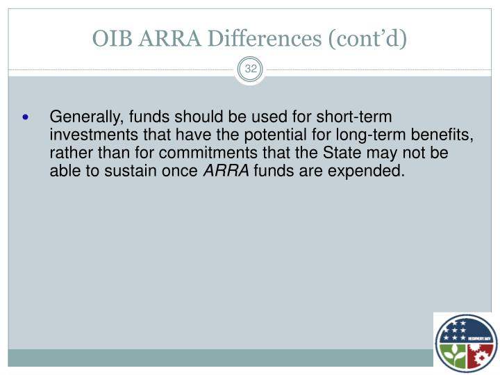 OIB ARRA Differences (cont'd)