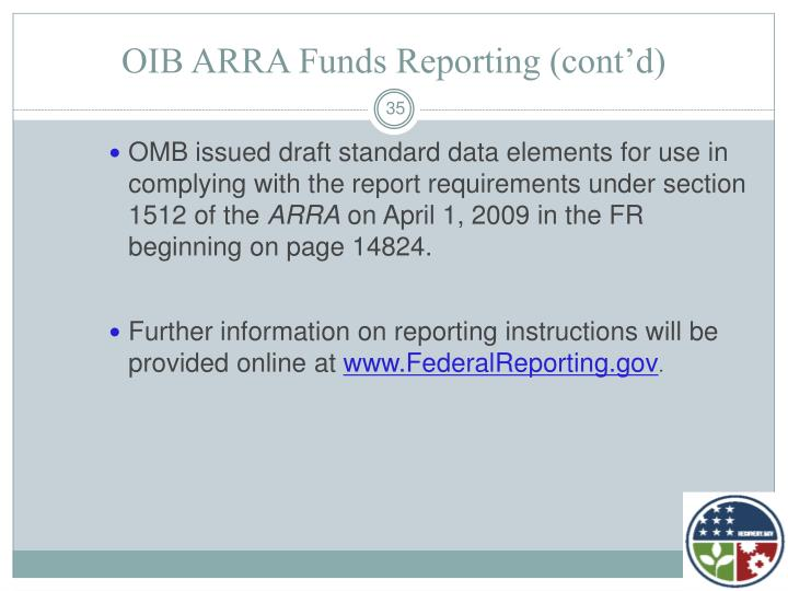 OIB ARRA Funds Reporting (cont'd)