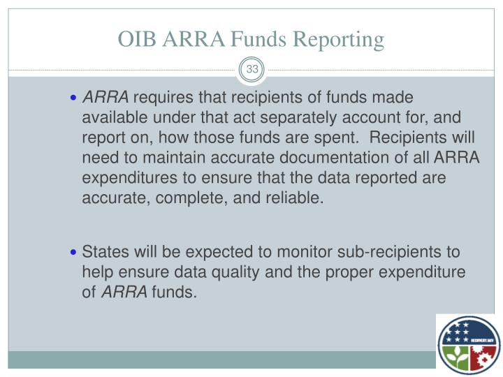 OIB ARRA Funds Reporting