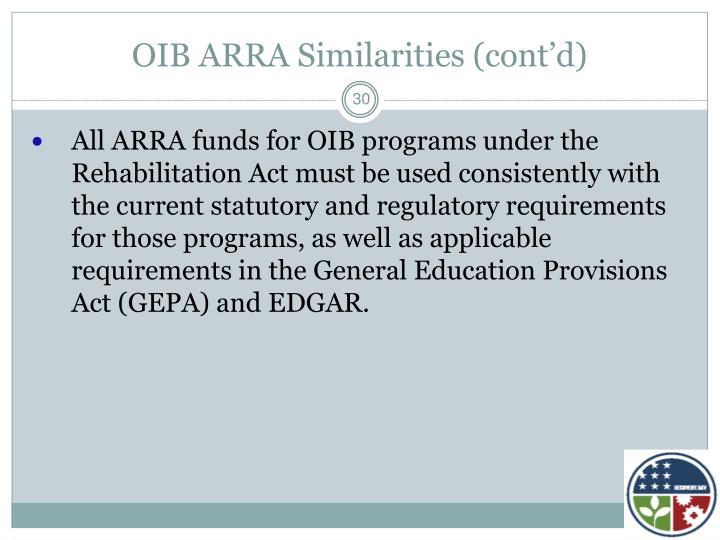 OIB ARRA Similarities (cont'd)