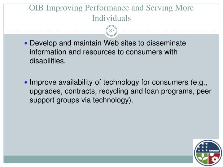 OIB Improving Performance and Serving More Individuals