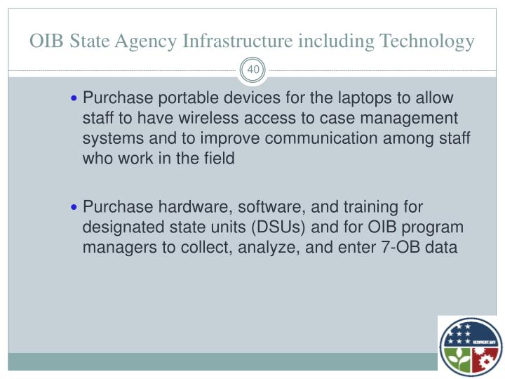 OIB State Agency Infrastructure including Technology