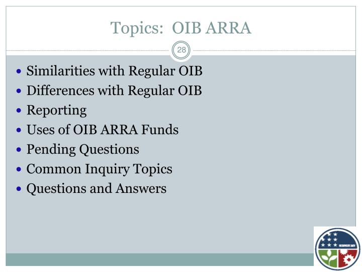 Topics:  OIB ARRA