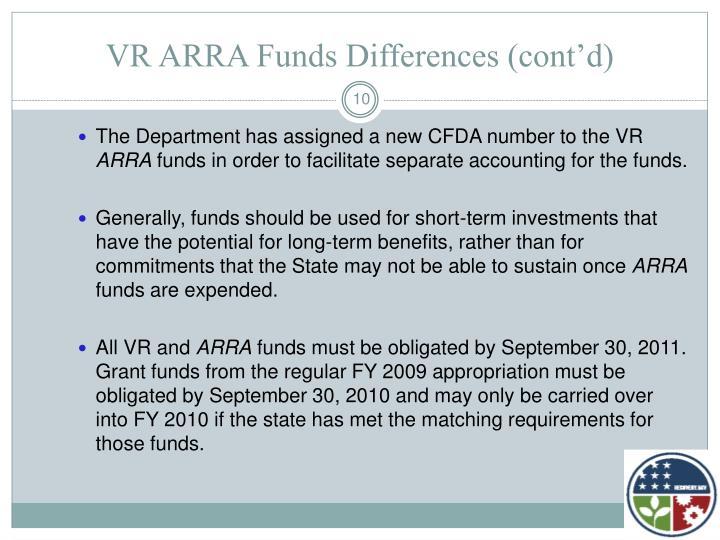VR ARRA Funds Differences (cont'd)