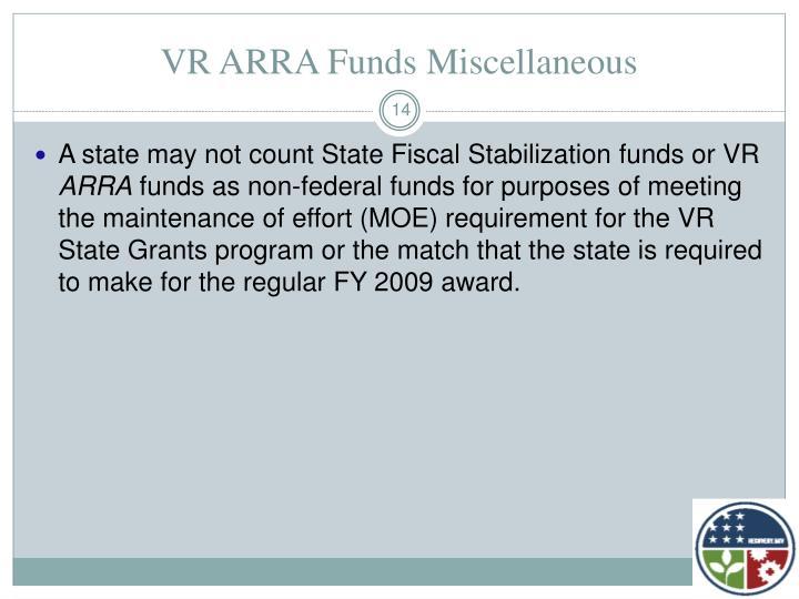VR ARRA Funds Miscellaneous