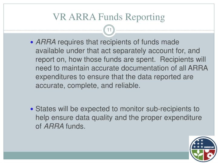 VR ARRA Funds Reporting