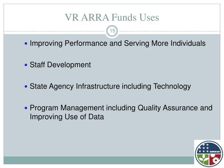 VR ARRA Funds Uses