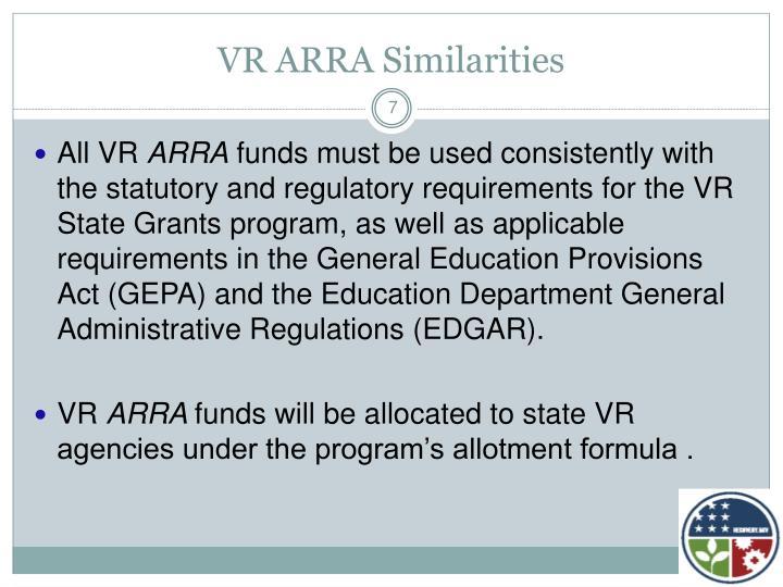 VR ARRA Similarities