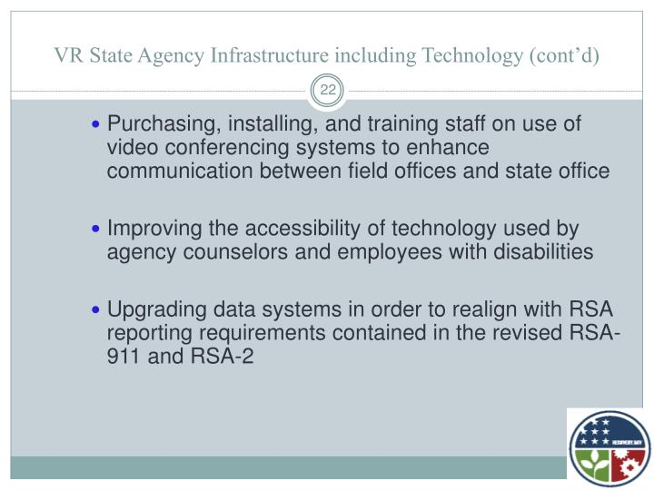 VR State Agency Infrastructure including Technology (cont'd)