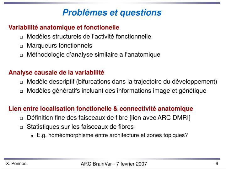 Problèmes et questions