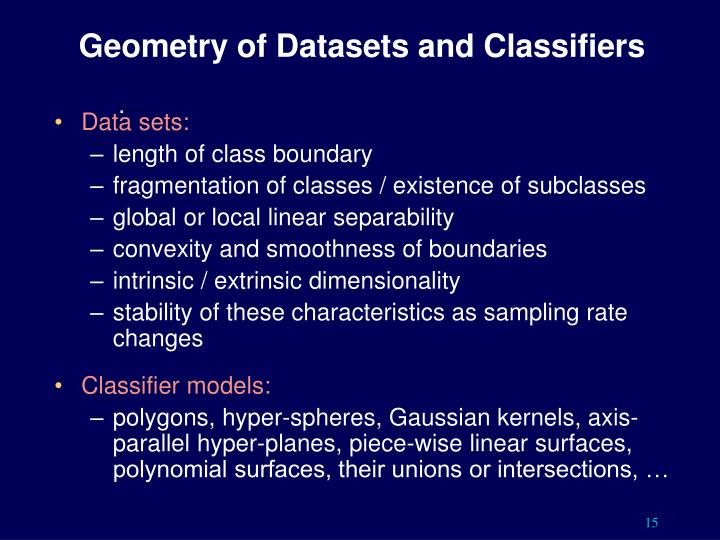 Geometry of Datasets and Classifiers
