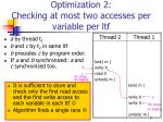 optimization 2 checking at most two accesses per variable per ltf