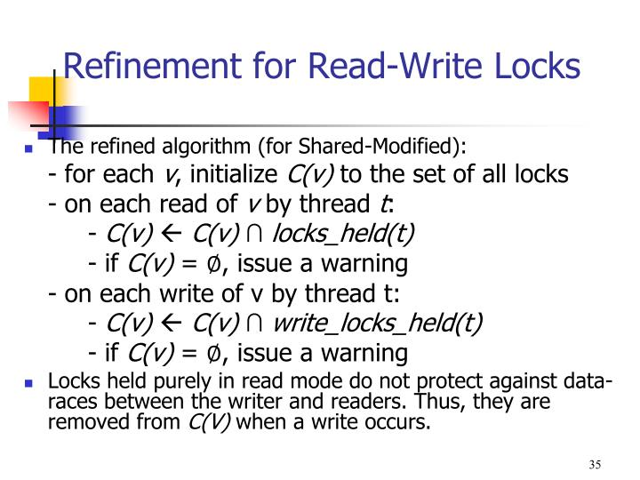 Refinement for Read-Write Locks