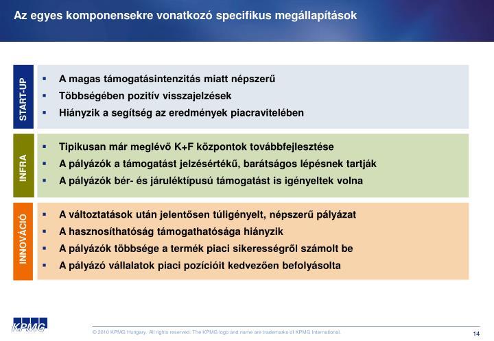 Az egyes komponensekre vonatkozó specifikus megállapítások