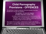 child pornography provisions offences