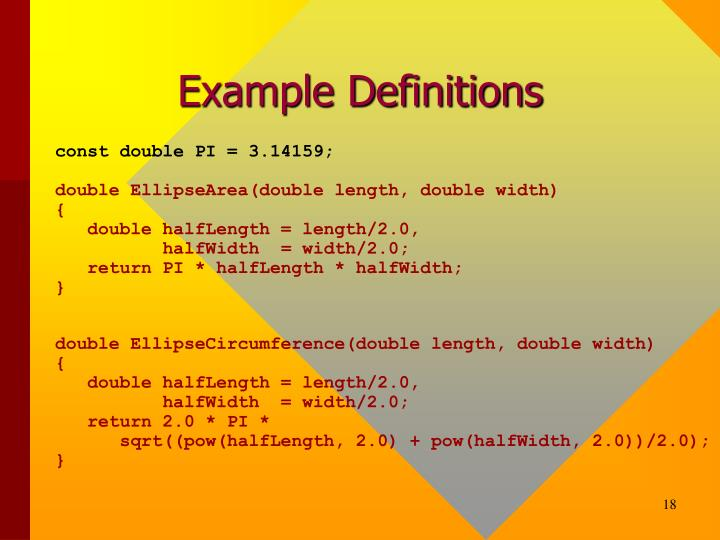 Example Definitions
