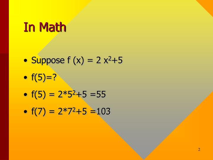 In Math