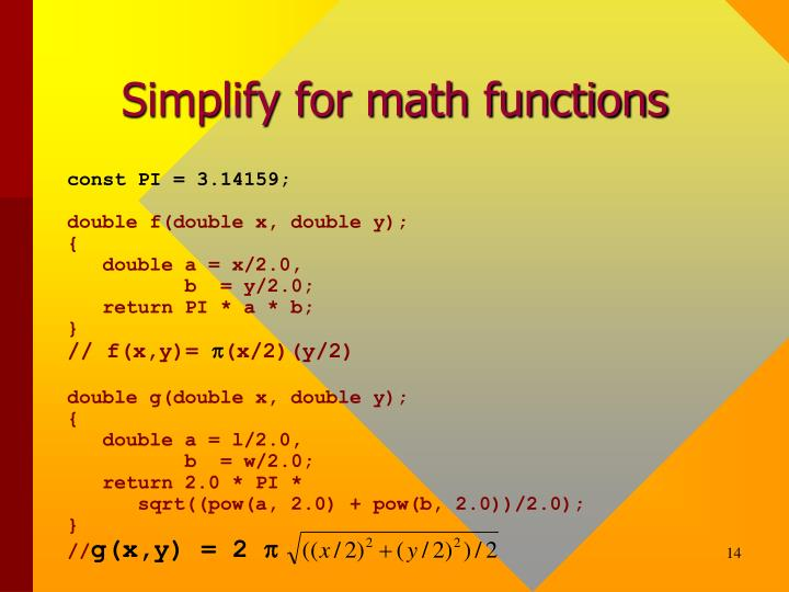 Simplify for math functions