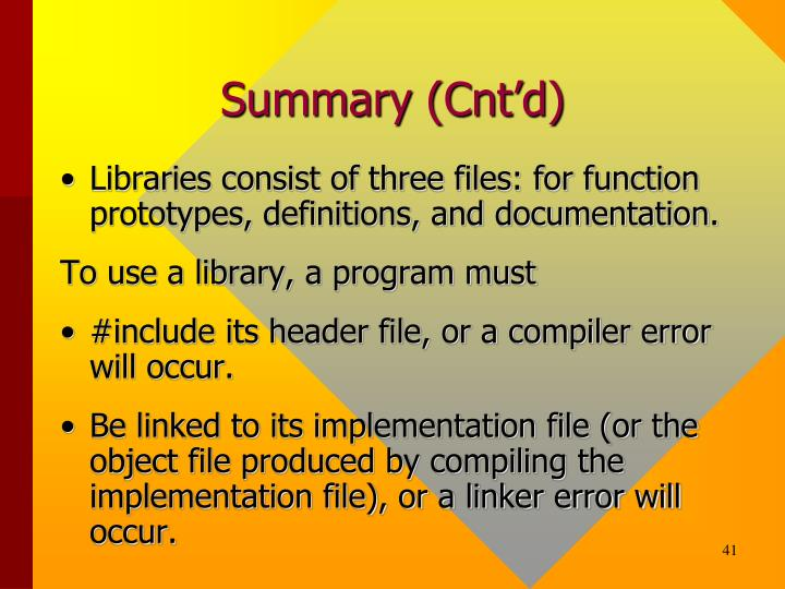 Summary (Cnt'd)