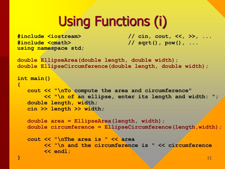 Using Functions (i)