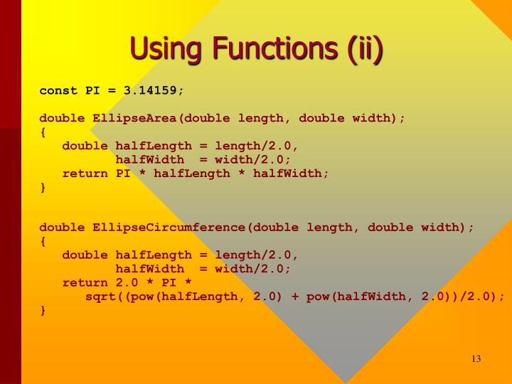 Using Functions (ii)