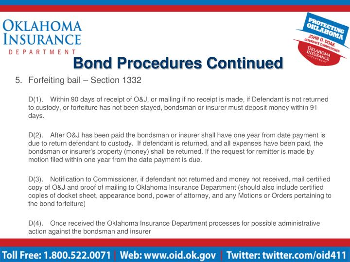 Bond Procedures Continued