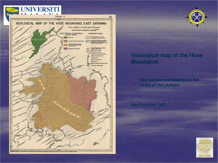 Geological map of the Hose Mountains