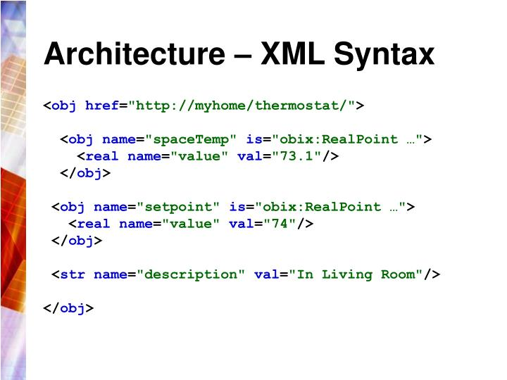 Architecture – XML Syntax
