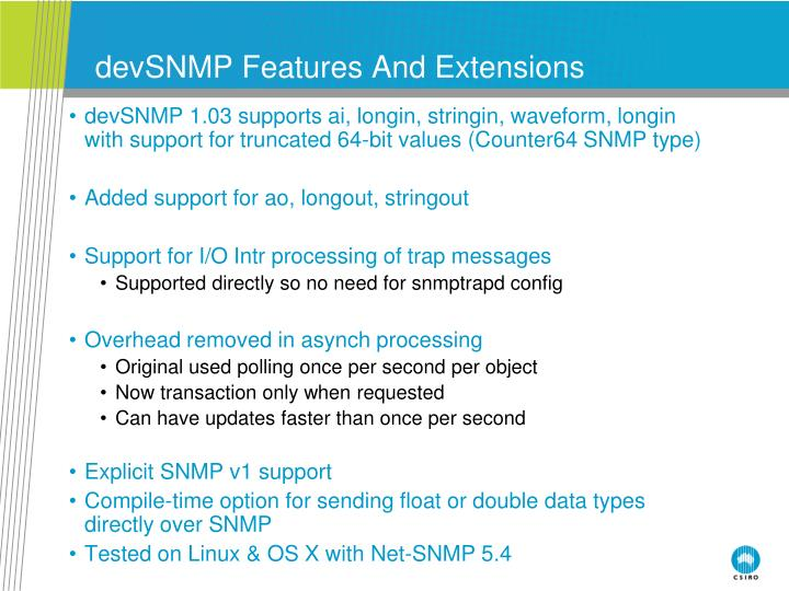 devSNMP Features And Extensions