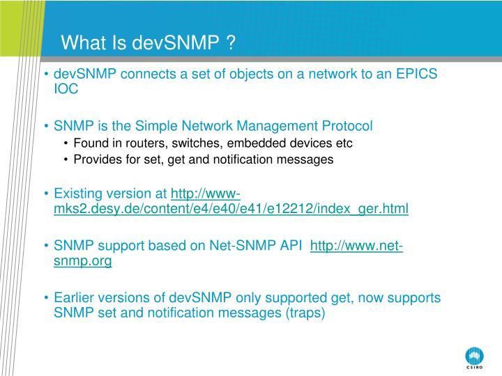 What Is devSNMP ?