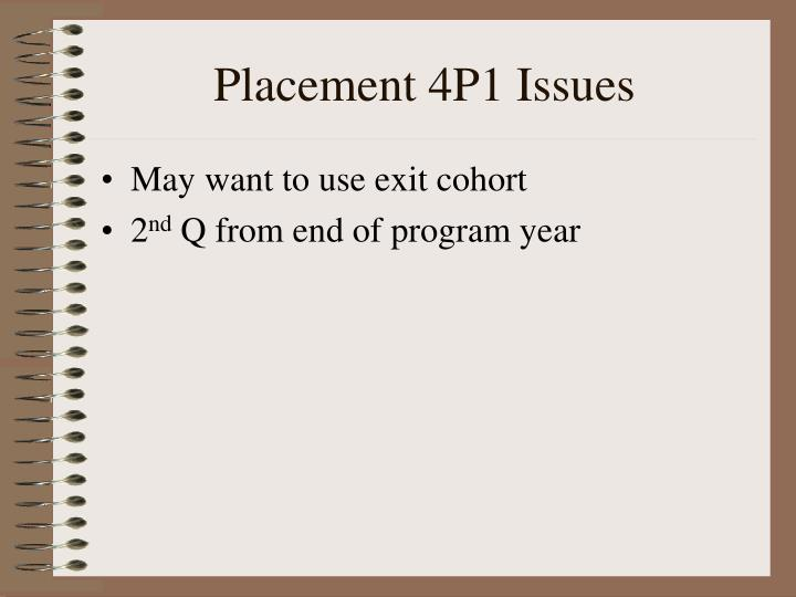 Placement 4P1 Issues