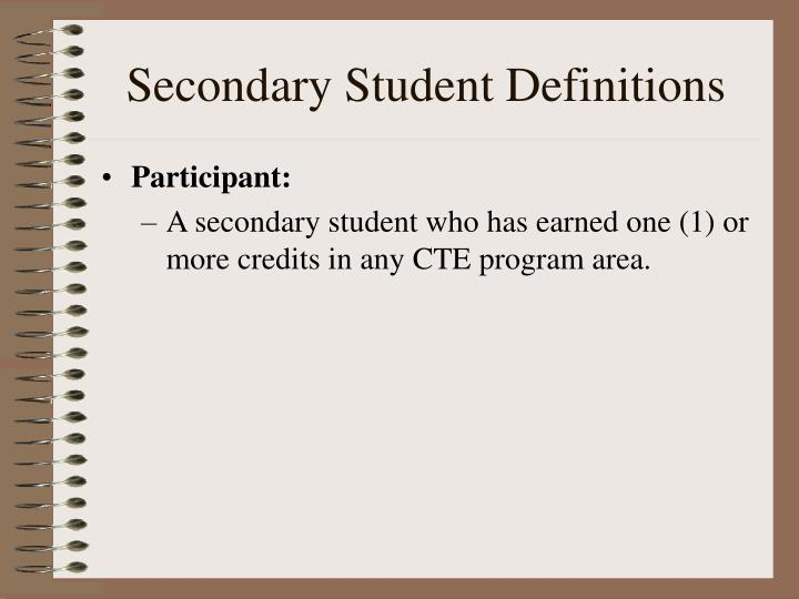Secondary student definitions