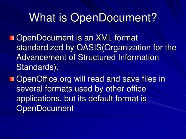 What is OpenDocument?