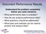 document performance results