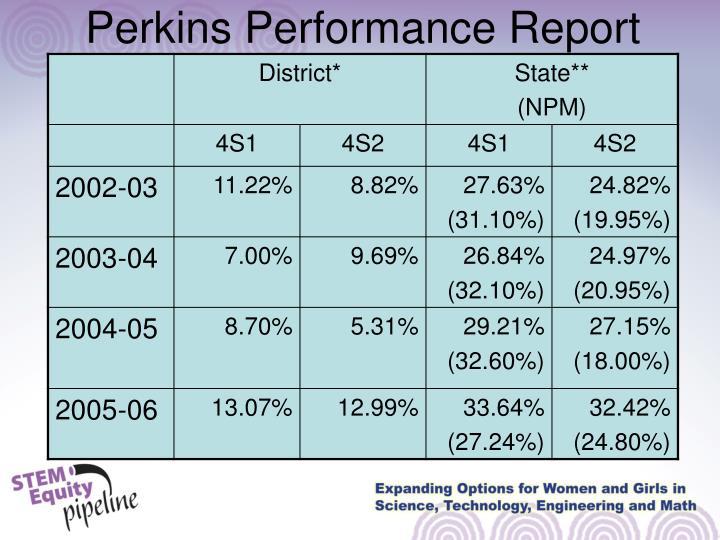 Perkins Performance Report