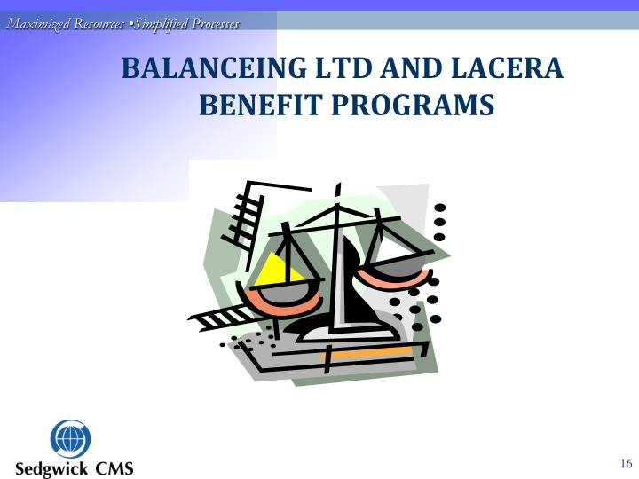 BALANCEING LTD AND LACERA 	       BENEFIT PROGRAMS