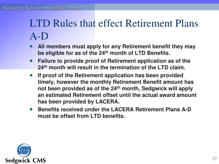 LTD Rules that effect Retirement Plans A-D
