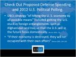 check out proposed defense spending and 2012 u s political polling