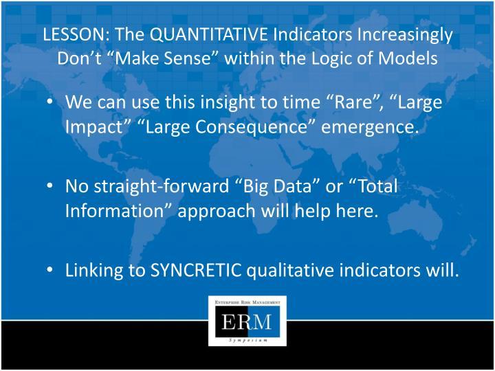 LESSON: The QUANTITATIVE Indicators Increasingly Don
