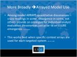 more broadly arrayed model use