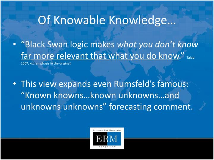 Of Knowable Knowledge…