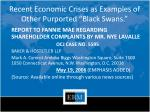 recent economic crises as examples of other purported black swans