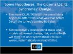 some hypotheses the closer a lslire syndromes change