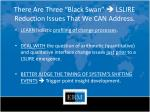 there are three black swan lslire reduction issues that we can address