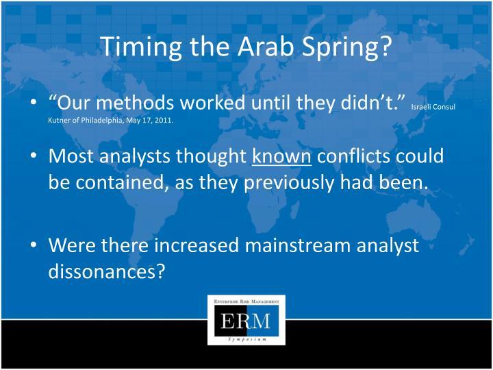 Timing the Arab Spring?